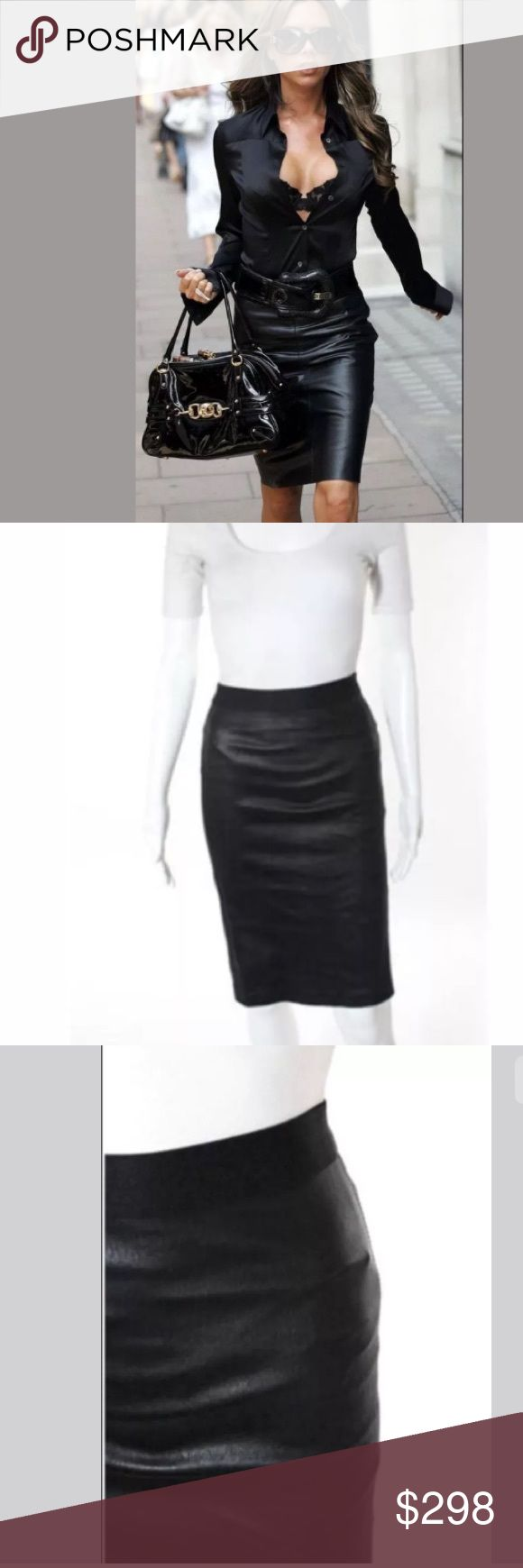 HELMUT LANG 100 % Lamb LEATHER PENCIL SKIRT, SZ 2 HELMUTLANGBlack 100 % Leather Stretch Elastic Waist Pencil Skirt Sz 2 Helmut Lang brings sexy back in the simplest of ways with this taught leather pencil skirt craf. Stretch Plonge 2. Black lamb leather. Elasticated waistband, single back split vent, an top stitching. 100% Leather. Fitted and tapered. •Closure:Pull On •Print:Solid •Pockets:None •Size:Two •Color:Black •Lining:Unlined •Fabric:Leather PRE-OWNED: •Very…