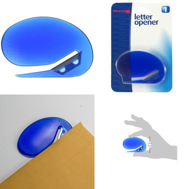 Deluxe Plastic Letter Opener, Opens Envelopes Quickly and Safely, Blue (30310) #Officemate