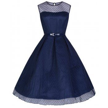 'Aleena' Navy Blue Polka Dot Prom / Bridesmaid Dress