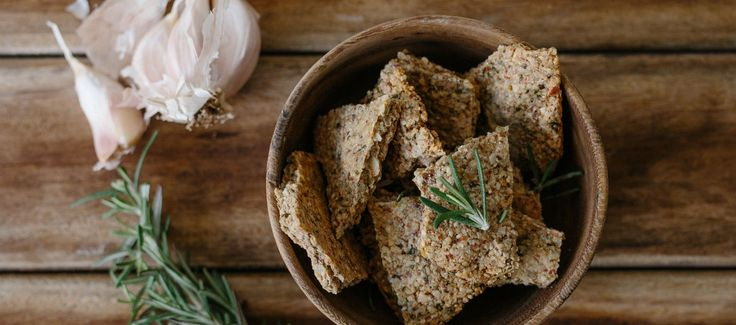 GF Garlic and Rosemary Crackers, use chia seeds instead of the egg.