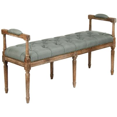Superior Upholstered In Linen On The Seat And Arms, This Piece Is Enhanced By Elegant  Tufting And Gently Gleaming Nail Heads. Awesome Design