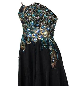 Long black metallic peacock feather print evening dresses pageant gowns