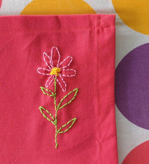 Mabel  flower embroidered cotton hanky  handmade in Brisbane