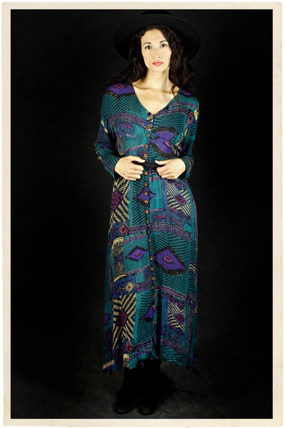 ethnic SOUTHWESTERN DUSTER maxi boho hippie GRAPHIC long button front dress / med / lg