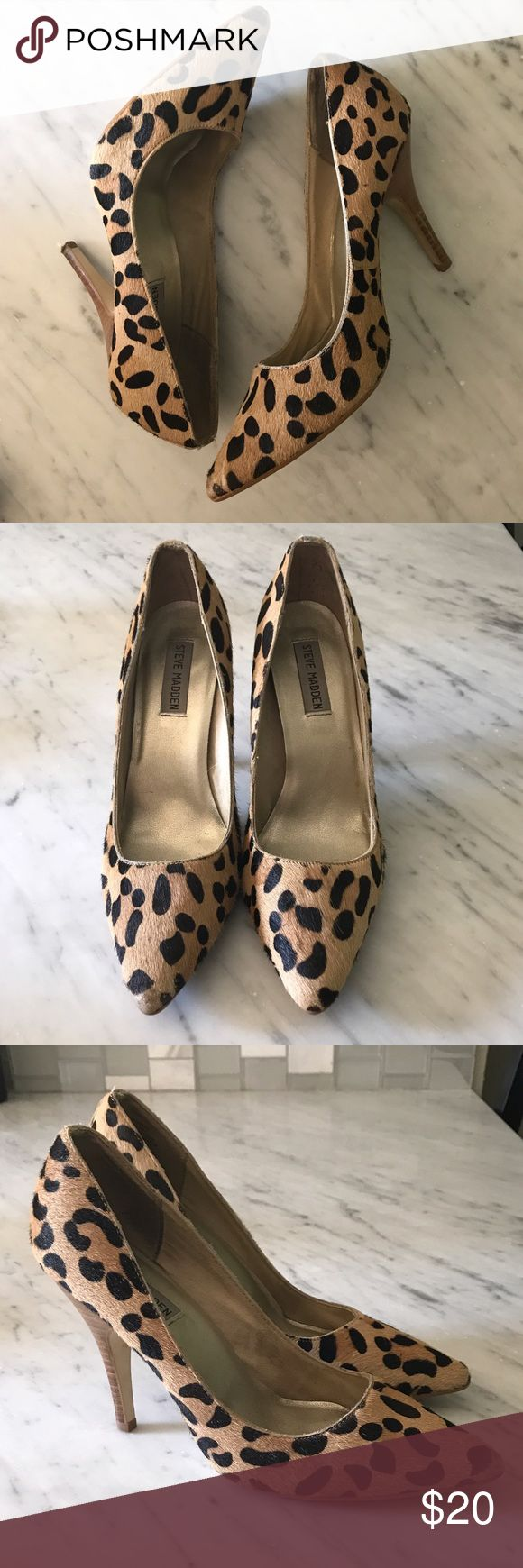 Steve Madden 'Carmin' Calf-Hair Leopard Print Pump Steve Madden 'Carmin' Calf-Hair Leopard Print Pump. Pointed Toe; wooden heel. Please note a little wear on the pointed toe, and a knick on the back of one of the heels. Steve Madden Shoes Heels