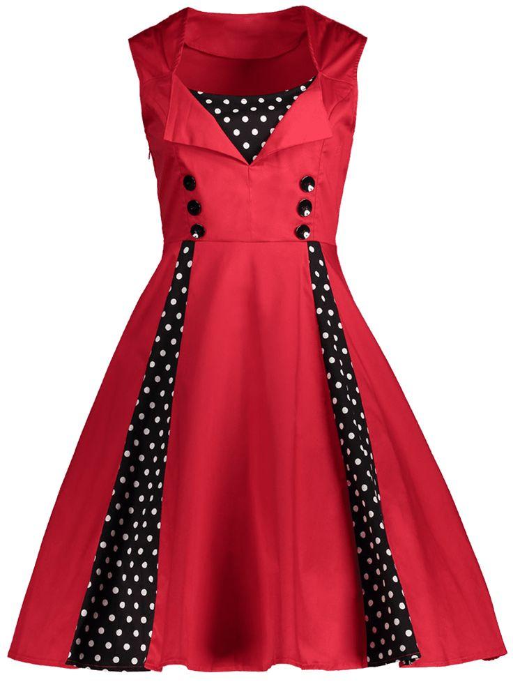 rosegal   Prom dresses vintage, Polka dot retro dress, Red ...