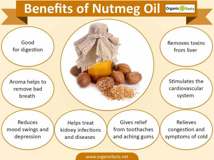 The health benefits of nutmeg oil include its ability to treat stress, pain, menstrual cramps, heart disorders, indigestion, blood pressure, cough and bad breadth. The health benefits of nutmeg oil can be attributed to its medicinal properties such as sedative, stimulant, relaxing, anti inflammatory, antiseptic, bactericide, etc. Nutmeg has the Latin name Myristica fragrans. It is also known by other common names such as mace, muscdier, magic, muskatbaum, etc.