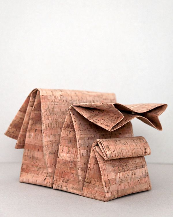cork clutches by Adaism - chanelling the brown paper lunch bag... innovative handbag designs
