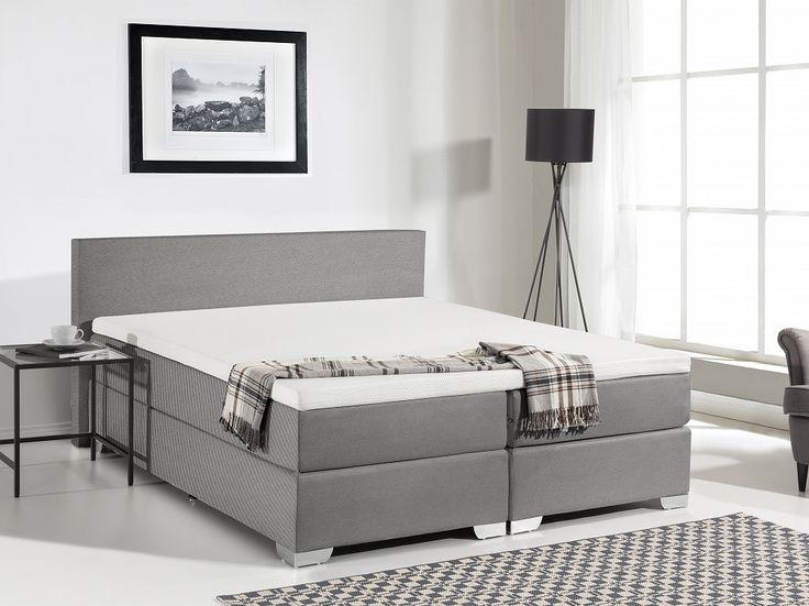 Łóżko kontynentalne 160x200 cm - tapicerowane - PRESIDENT ciemnoszare