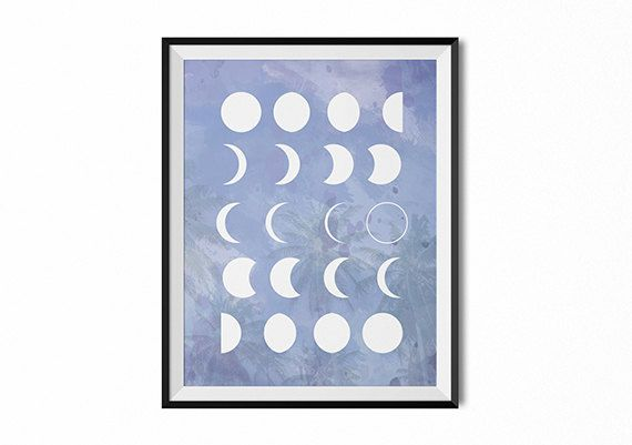 Moon phases print, boho moon art, purple moon, lunar wall art, full moon print, moon phase chart, luna wall decor, watercolor, gypsy, dorm