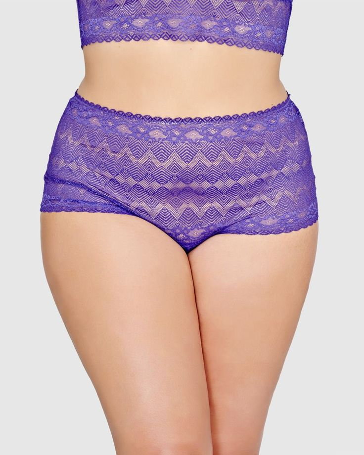 This seductive Ashley Graham panty is made from soft & stretchy web lace in a sexy thong design for the perfect addition to your lingerie favorites. Plus size, wide lace waistband, thong back, picot edge leg opening. Matching bra also available.