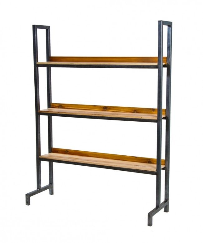 massive c. 1950's vintage american industrial custom-built all-welded tubular steel welding curtain stand with newly added hickory wood bookshelves - Storage - Products