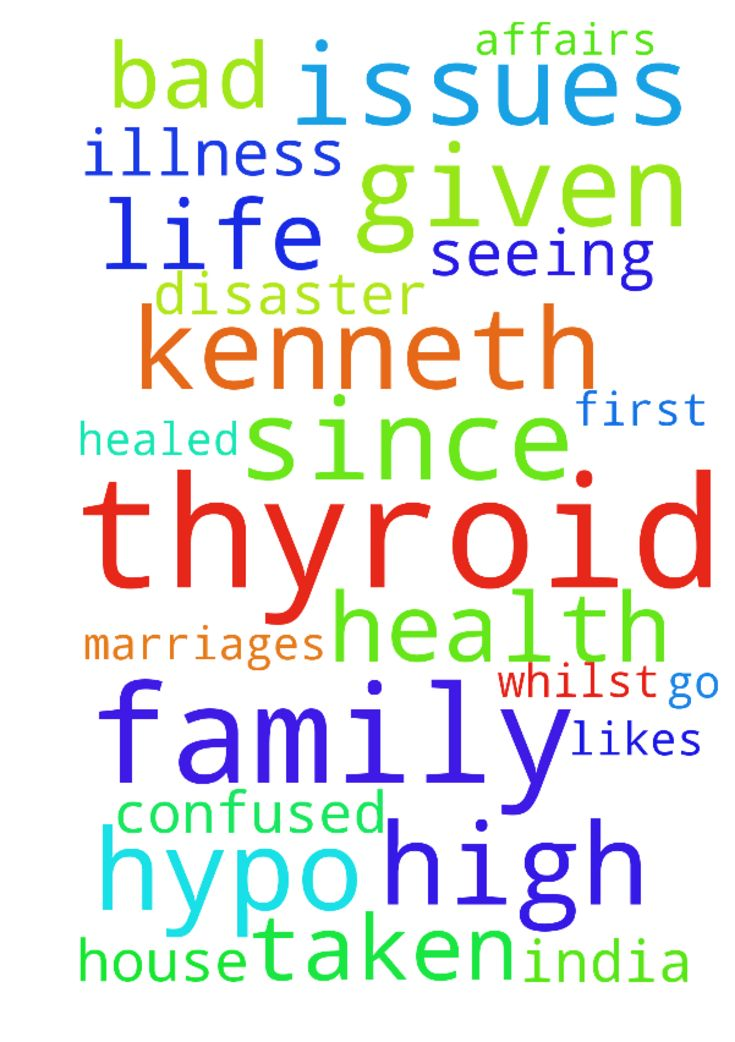Please pray: 1.  my health issues - hypo thyroid, i - Please pray 1. my health issues hypo thyroid, i will be seeing thyroid dr for first time as I lost 80 of my hair and my thoughts are confused, i sweat etc. pray that I dont have any illness and I am healed as I am on high dose of thyroid medicine given by family doctor. I also have high cholestrol, arthritis. 2. Kenneth Fernandes has given me lot of stress I married him and since then things have been bad for me he has abandoned me left…