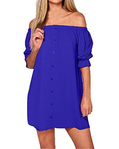 d6f429b277cb0 StyleDome Women s Sexy Summer Off Shoulder Party Beach Casual Loose  Strapless Half Sleeve Long Tops Mini