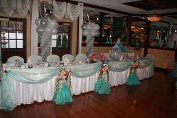 Quinceanera balloon decor head table decoration for for Balloon decoration ideas for a quinceanera