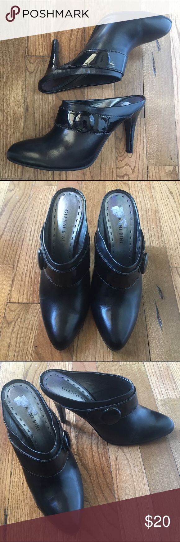 Gianni Bini black slip on heels Adorable slip on heels with button. Patent heel and strap. Have only been worn a couple of times. Gianni Bini Shoes Heels