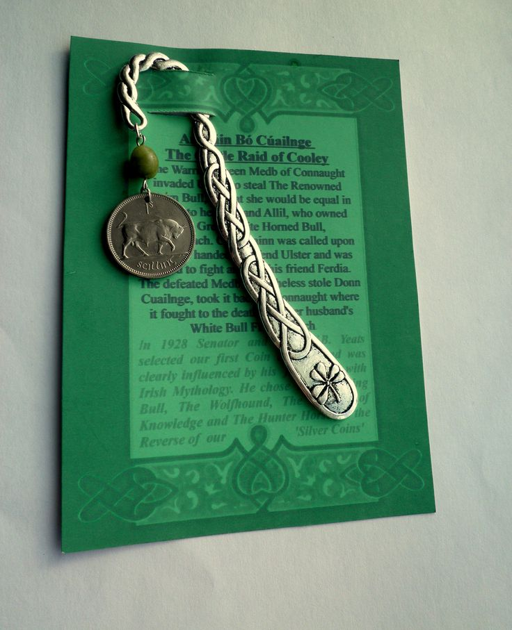 An Irish Legend, Coin representing An Táin Bó with Connemara Marble on a Celtic Bookmark, Harp and Shamrock, Student gift by VintageIrishDresser on Etsy