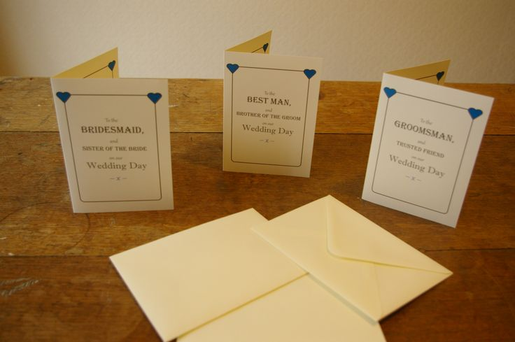 Wedding thank you cards for your wonderful bridesmaids which can be adjusted for friends, sisters, sister in laws etc. The best man and groomsman or usher cards can also be adjusted for friends, brothers, brother in laws etc. too. This set was for a wedding with blue bridesmaids dresses and blue ties and pocket squares for the men and the heart colour can be changed to suit your wedding colours to add that extra personalisation.