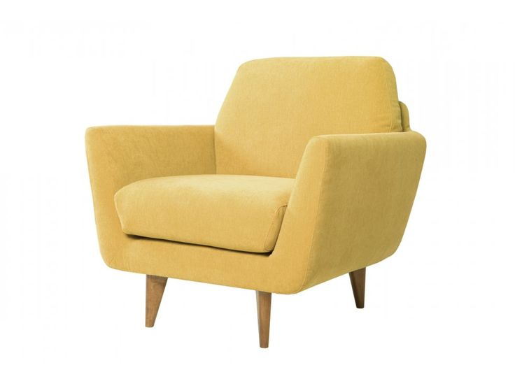 Fotel Rucola AMSTEL 4 mustard tkanina musztardowa nogi drewno dąb — Fotele Sits — sfmeble.pl #yellow #design #furniture