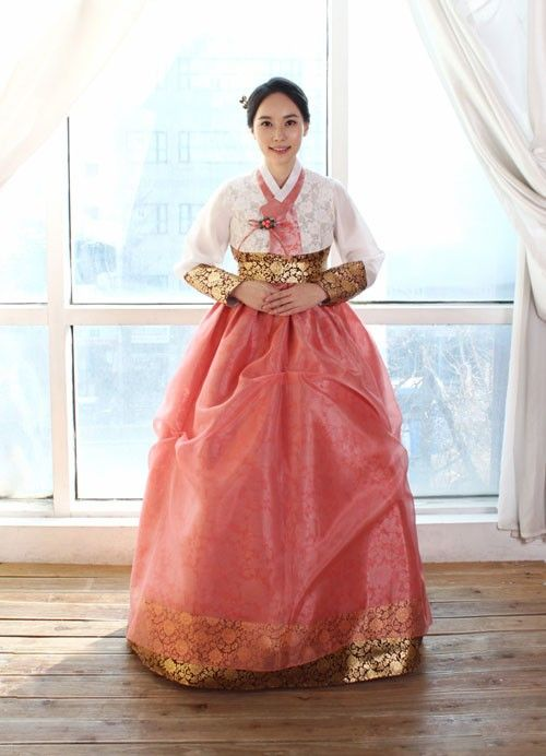 Draped And Layered Hanbok Dress With White Jacket And Golden Patterned Inlay