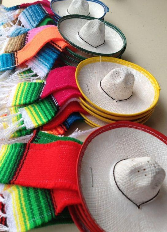 Little charro sombreros and zarapes for  decorating a  Cinco de Mayo fiesta.