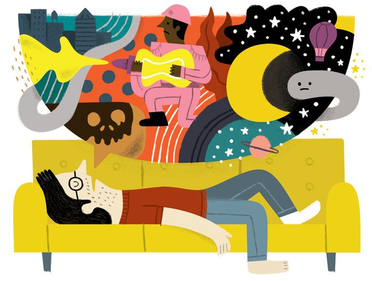 mental_floss Magazine Editorial illustration on an album created from sleep talking.  [Andy J. Miller]