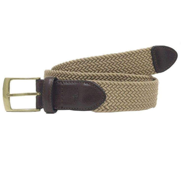 35mm Khaki Braided Elastic Web belt with Leather tabs More Details