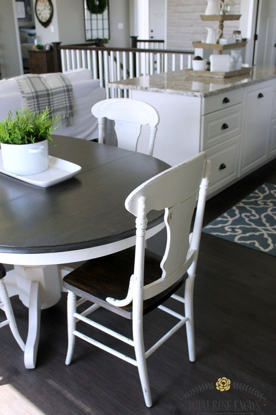 Farmhouse style painted kitchen table and chairs - chalk paint was