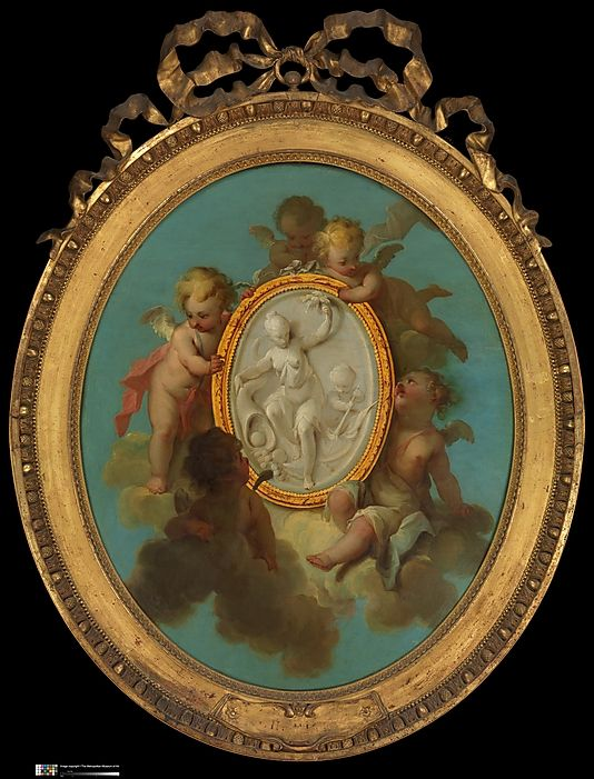 Putti with a Medallion Charles Dominique Joseph Eisen  (French, Valenciennes 1720–1778 Brussels)