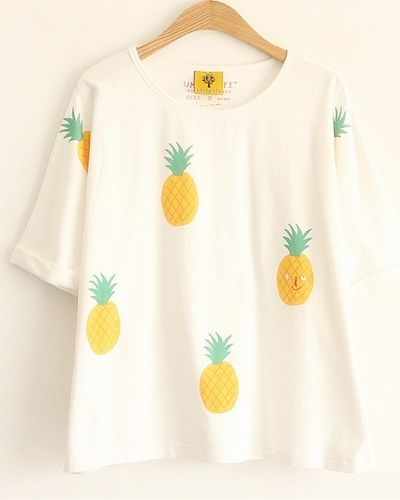 Pineapple t shirts for girls full of fruit cheap printed tee