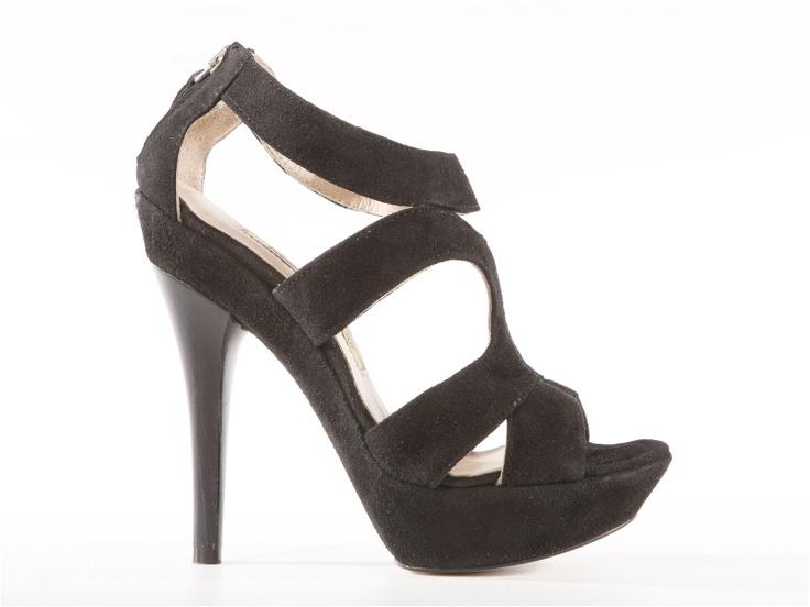 Nadia black suede high heels