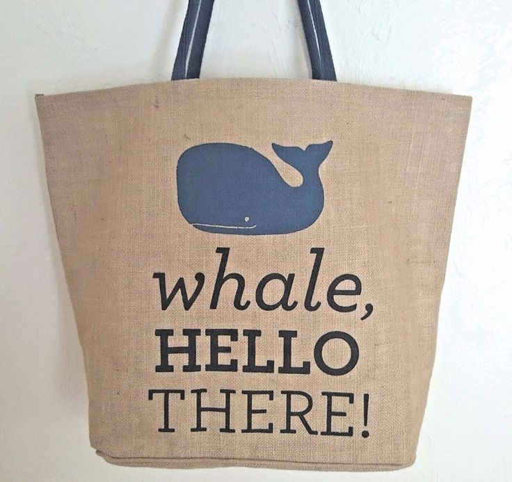Whale Burlap Tote Bag Shopping Beach Travel Extra Large Nautical #Nantucket