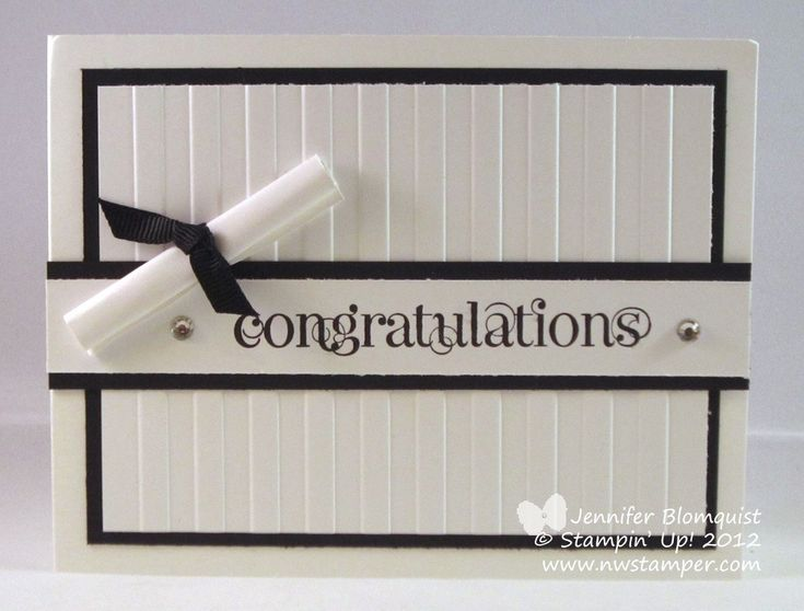 Graduation Card, Stampin Up, Curly Cute, Stripes Embossing Folder, Black and White