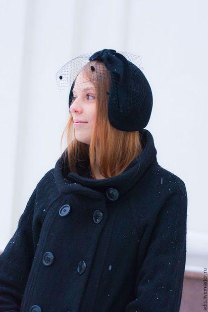 Шляпы ручной работы. Шляпка менингитка «вуалетка с бантом». Наталия Эдис. Интернет-магазин Ярмарка Мастеров. Шляпа, теплый ободок