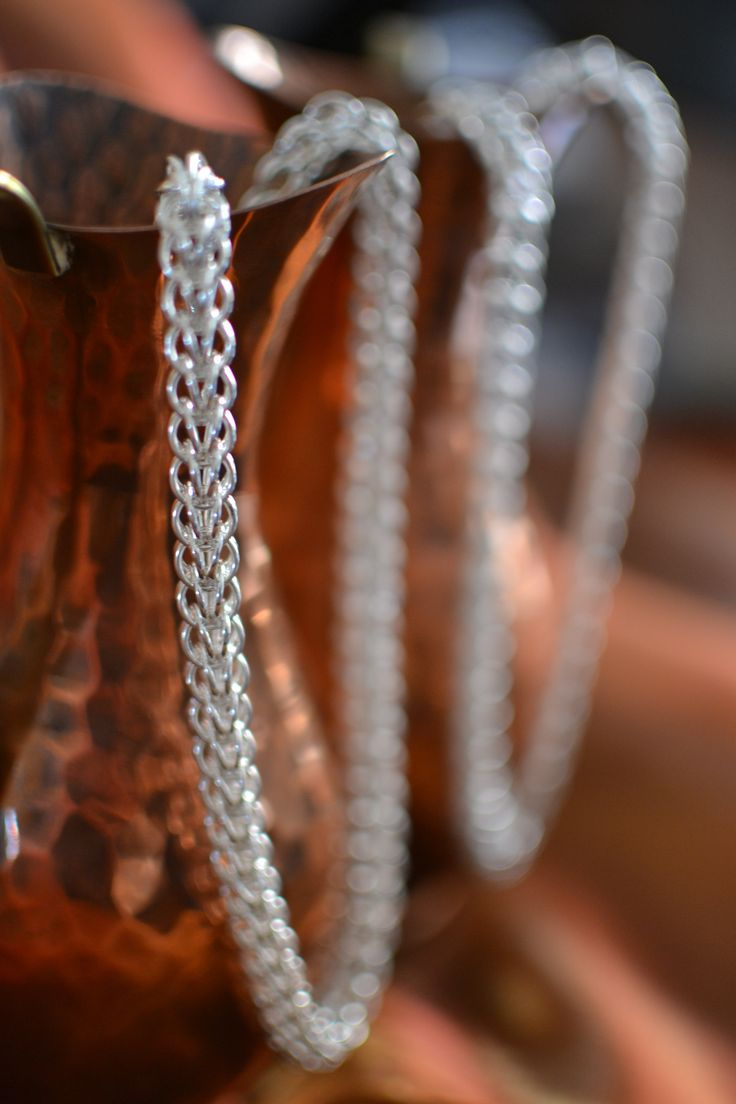 Sterling Silver Chain-Maille Neck-pieces with bracelets as an optional extra!