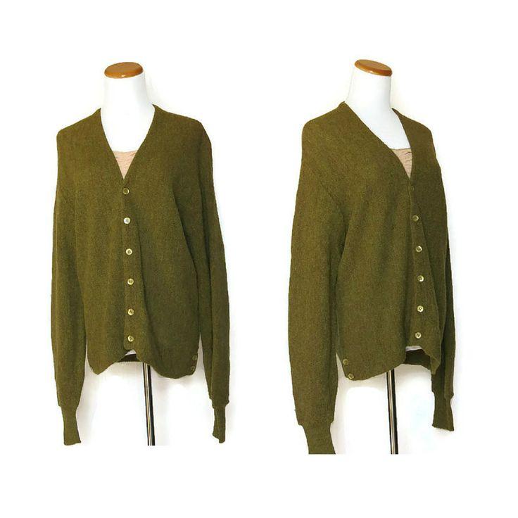 Grandpa Cardigan / Vintage Cardigan / Mens Cardigan / Olive Green Cardigan / 50s 60s Cardigan / Cardigan Sweater / Alpaca Sweater by GoodLuxeVintage on Etsy