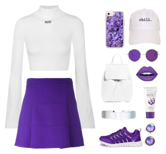 """Purple & white 💜"" by xanniee on Polyvore featuring Off-White, Mansur Gavriel, Casetify, Accessorize, Victoria, Victoria Beckham, Rimmel and LunatiCK Cosmetic Labs"