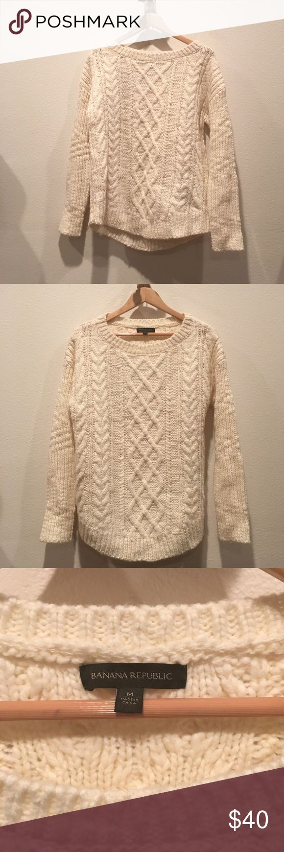 Banana Republic Chunky Cable Knit Sweater Banana Republic, wool, cream, chunky cable knit sweater Banana Republic Sweaters