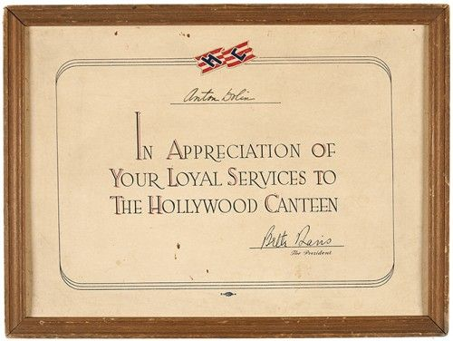 [DAVIS, Bette] Hollywood Canteen Certificate presented to Anton Dolin.  Hollywood. [1943].