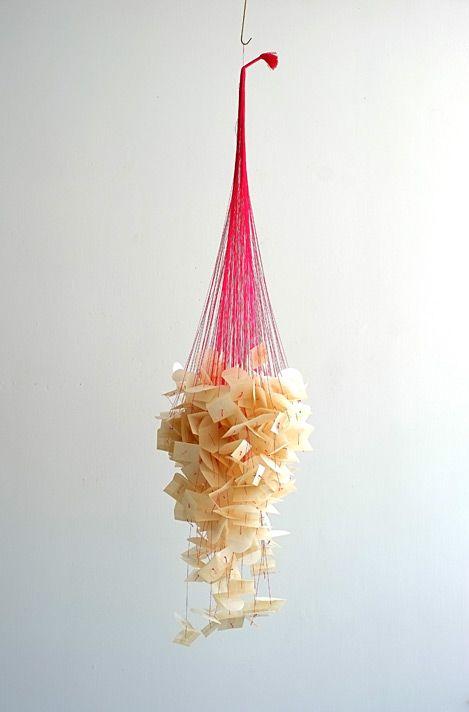 "The Birth of Venus (2012) // Fil de soie, enveloppe en glassine, 137 x 34 x 34cm / Silk thread, glassine envelope, 54"" 13.5"" x 13.5"""