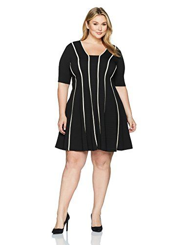 Julian Taylor Women's Plus Size Fit and Flare Seamed Dress