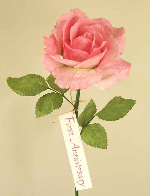 Paper Wedding Anniversary Gift Ideas Uk : First Anniversary Large Pale Pink Paper Rose Paper Gifts from Paper ...