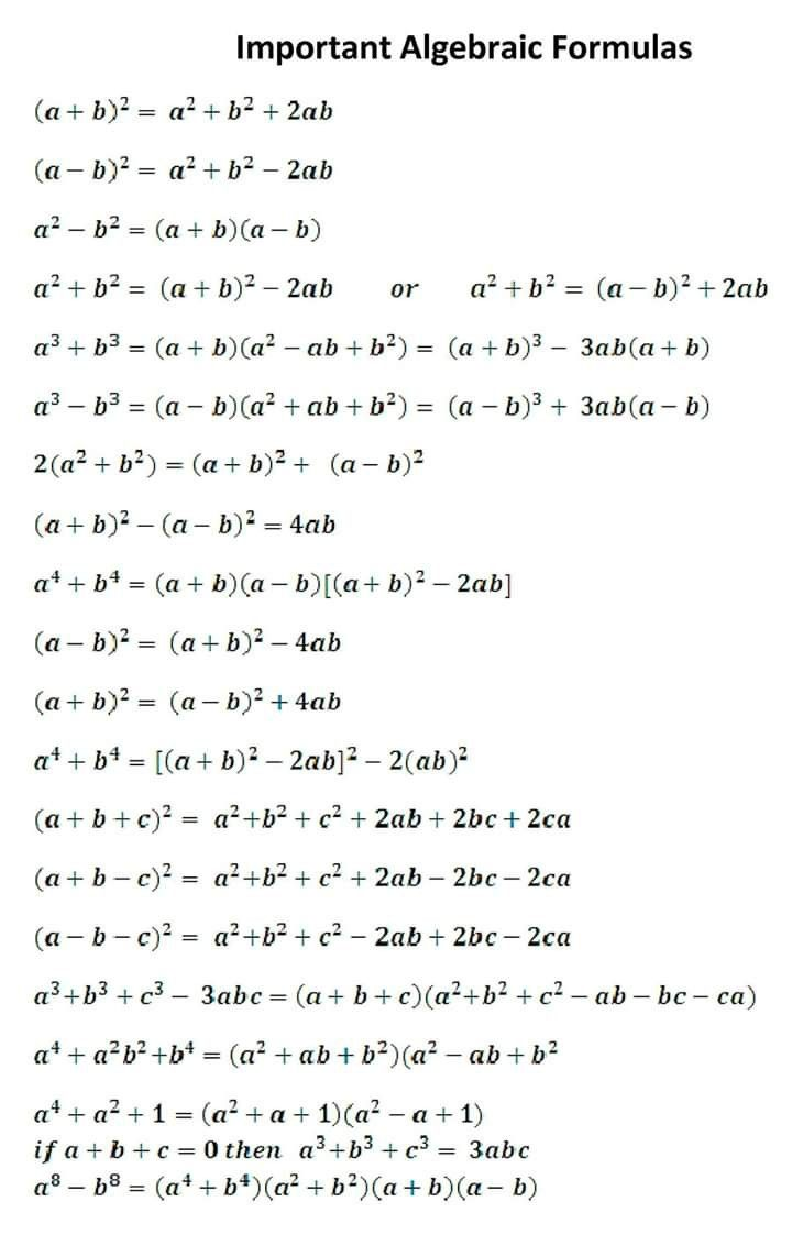 Important Algebraic Formula Learning Mathematics Studying Math Basic Math [ 1123 x 720 Pixel ]