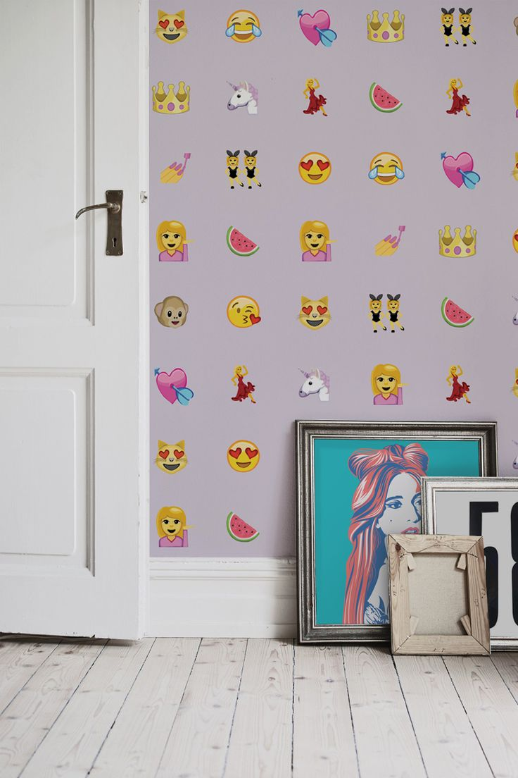 Unicorns, watermelons and hearts. This adorable Emoji wallpaper design doesn't get any cuter and is perfect for modern bedroom spaces looking for something completely unique!