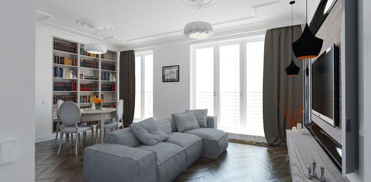 Salon otwarty na kuchnię. Biblioteczka. Jadalnia. Wypoczynek. Mieszkanie nowoczesne z klasycznymi, subtelnymi akcentami.  Więcej na: http://tryc.pl/
