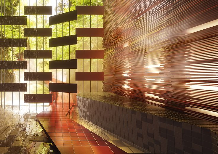Ceramic tile system ChromaPlural by AGROB BUCHTAL with over 50 colors. Wellness atmosphere designed by Ushi Tamborriello (3D render)