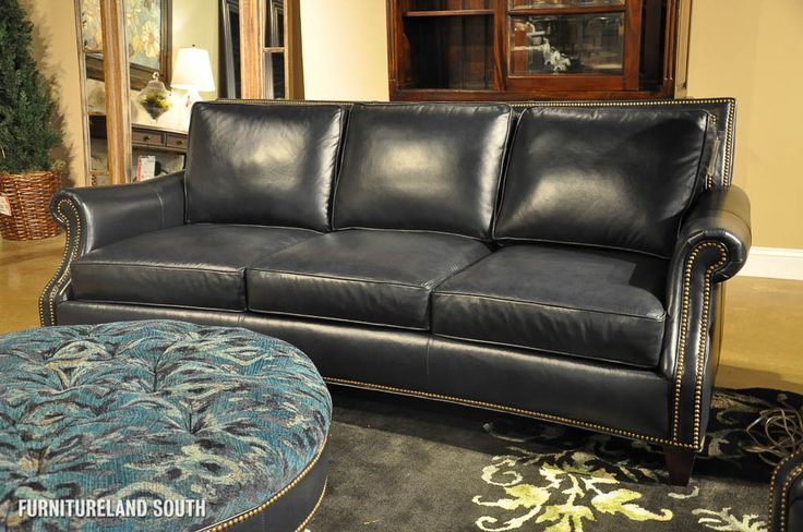 navy blue leather sofa | ... BRADINGTON YOUNG - NAVY BLUE LEATHER SOFA, CHAIR, AND FABRIC OTTOMAN