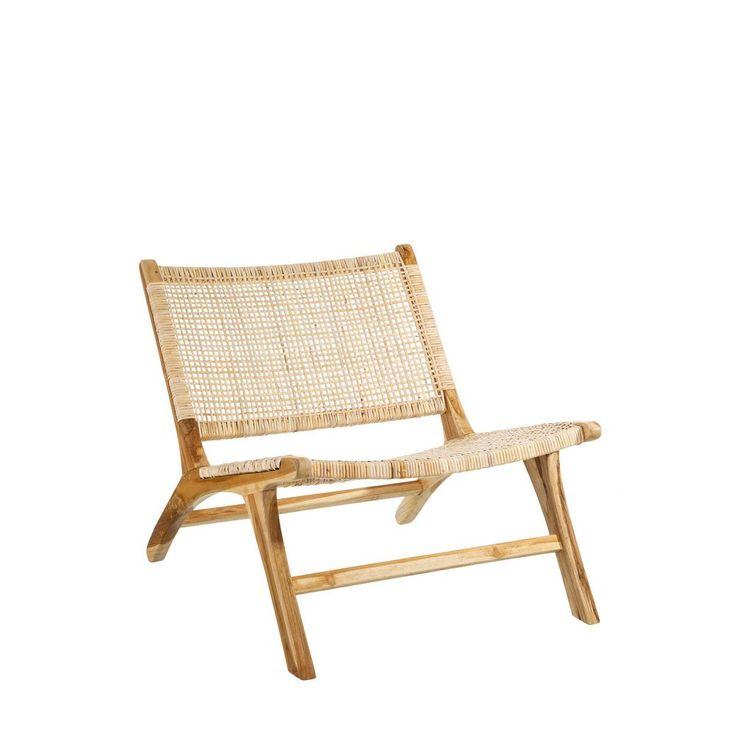 Butaca natural madera teka fibra natural 87 x 83 x 66 cm for Muebles de bambu y mimbre
