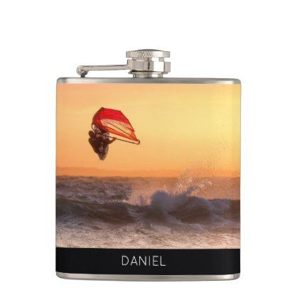 Windsurfing At Sunset Surfer Personalised Custom Hip Flask - surfing surfer surfers ocean salty hair beach love sun sports