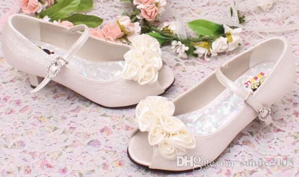 Good Quality Children White Flower Pearls Shoes Girls High